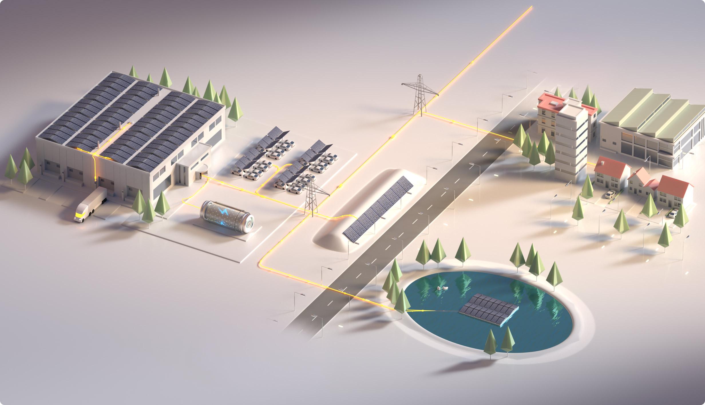 Art van een industriegebied en stad